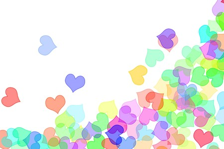 hearts of different colors drawn on a white background photo