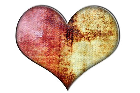 heart made with a background of brushstrokes of different colors on a canvas photo