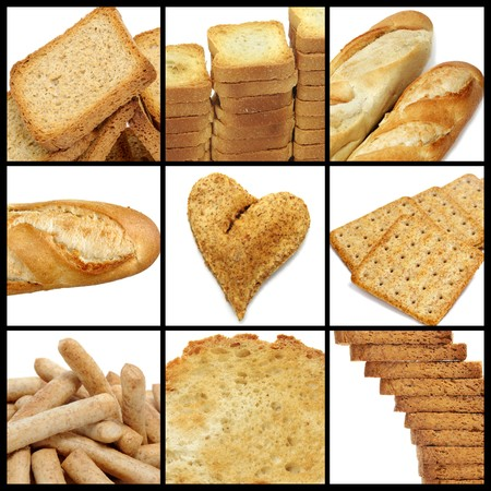 french loaf: a collage of nine pictures of different kind of bread