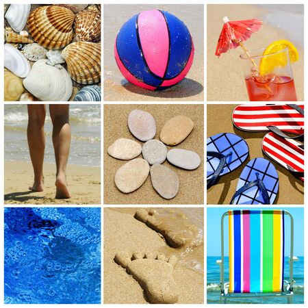 glasses in the sand: a collage of nine pictures of many beach items and scenes