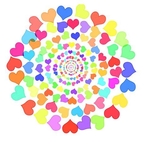mandala made with hearts drawn on a white background photo