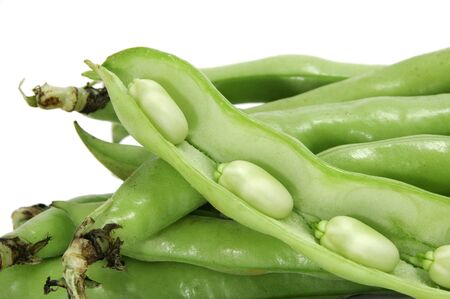 haba: closeup of some broad bean pods with the beans inside Stock Photo