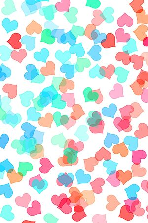 hearts of different colors drawn on a white background Stock Photo - 7008620