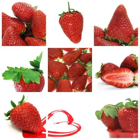 a collage of nine pictures of different strawberries photo