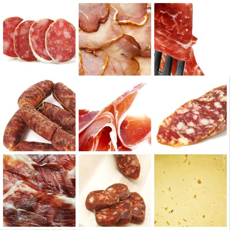 embutido: a collage of nine pictures of different spanish tapas Stock Photo