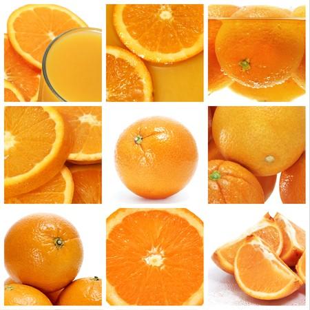 naranjas: un collage de nueve fotograf�as de naranjas y jugo de naranja