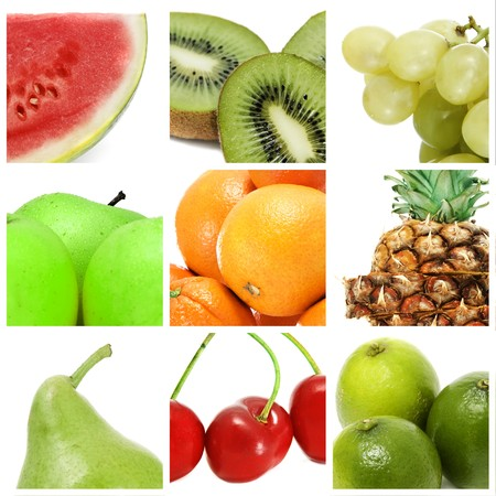fruit in water: a collage of nine pictures of different fruits Stock Photo