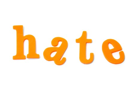 abomination: word hate written with typefaces on a white background Stock Photo