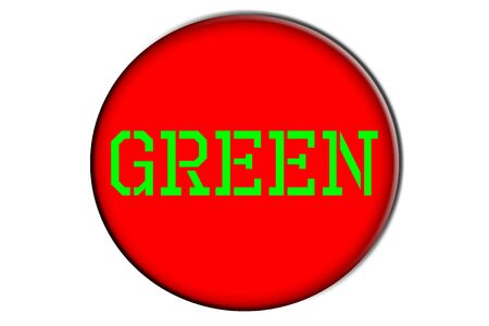 word green written in green into a red circle photo