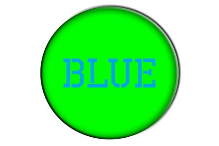 word blue written in blue into a green circle photo