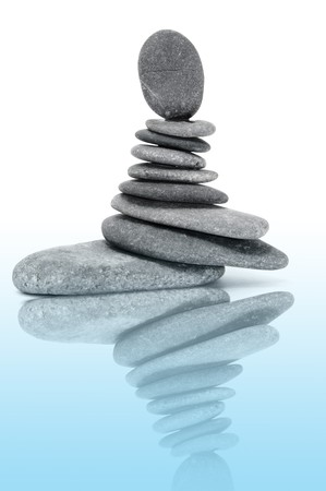 a pile of zen stones on a white background Stock Photo - 7043003
