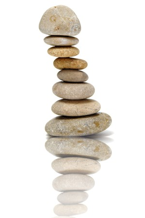 a pile of zen stones on a white background Stock Photo - 7043005