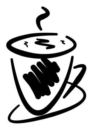 an illustration of a cup of coffee in black over white illustration
