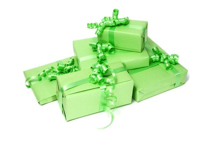 a pile of gifts isolated on a white background  photo