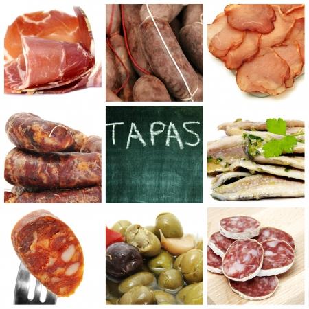 saucisse: un collage de neuf images de diff�rents tapas espagnols  Banque d'images