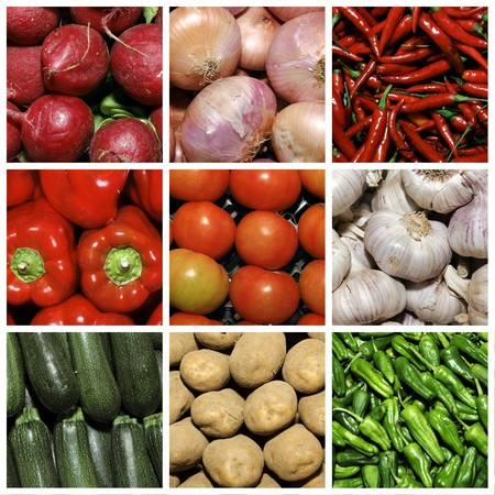 a collage of nine pictures of different vegetables Stock Photo - 7046758