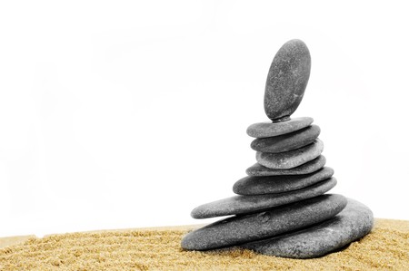 background made with zen stones in the sand Stock Photo - 7046742