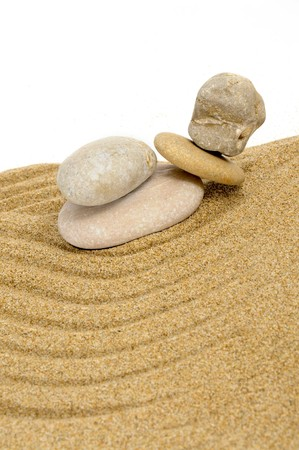 background made with zen stones in the sand Stock Photo - 7046749