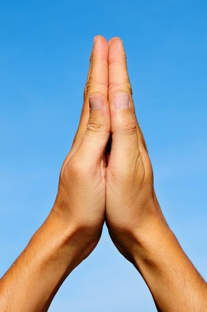 men hands together symbolizing prayer and gratitude photo