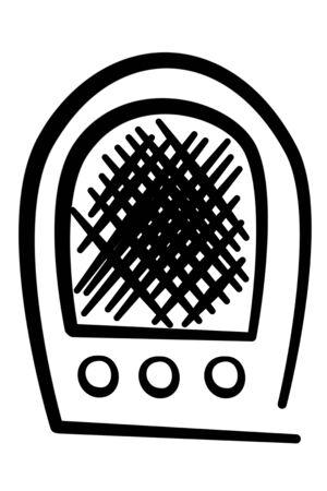 illustration of an ancient radio on black over white illustration