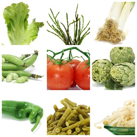 a collage of nine pictures of different vegetables Stock Photo