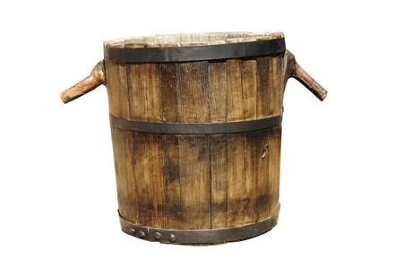 an old barrel used in grape vintage on white background photo