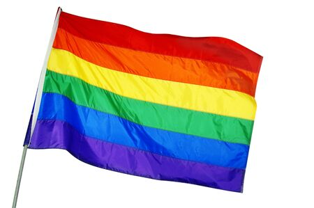 bisexual: a rainbow flag waving on a white background