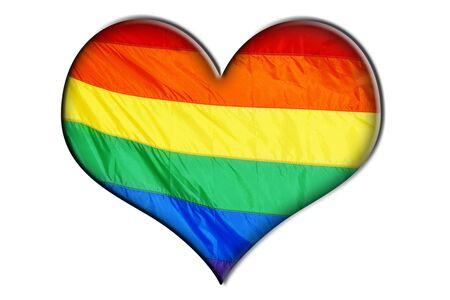 transexual: un coraz�n con bandera arco iris que simboliza el amor Foto de archivo