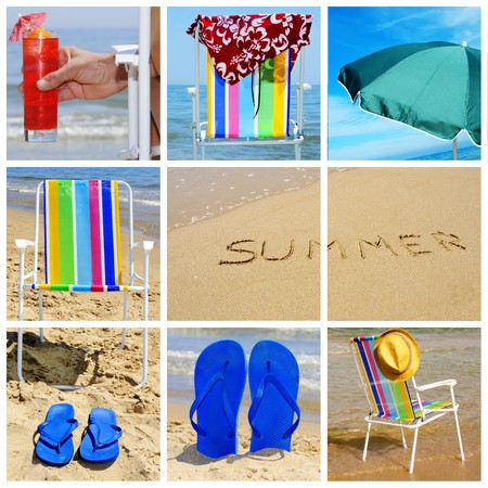 a collage of nine pictures of many beach items and scenes photo
