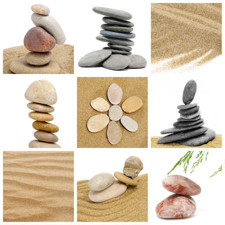 a collage of nine pictures of zen stones and zen garden photo