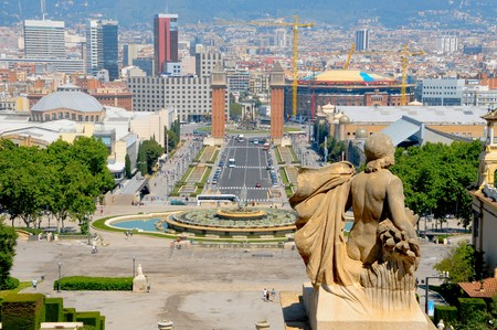 espanya: Aerial view of pla�a dEspanya from Montjuich, in Barcelona, Spain Stock Photo