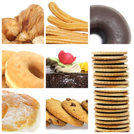 a collage of nine pictures of different kind of biscuits and pastries photo