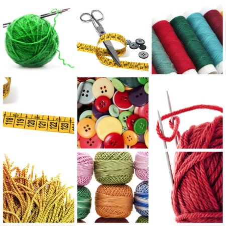a collage of nine pictures of different sewing and knitting tools photo