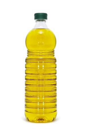 frying: a bottle of olive oil isolated on a white background