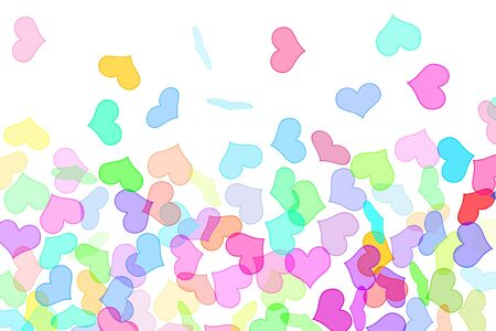 lovingly: hearts of different colors drawn on a white background