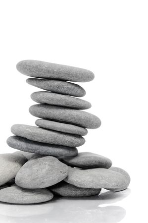 a pile of zen stones on a white background Stock Photo - 7168494