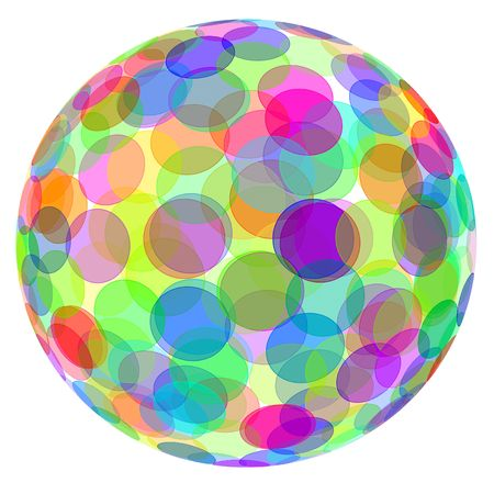 geometrical shapes: an sphere with circles of different colors on a white background