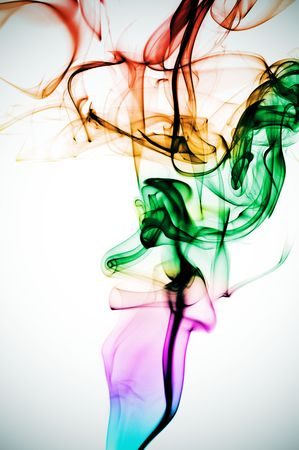 humo: colored smoke on a degraded white background Stock Photo