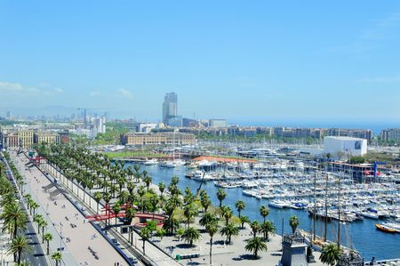 colom: Aerial view of Port Vell and Maremagnum, in Barcelona, Spain Stock Photo