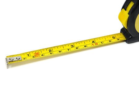 roll-up tape measure isolated on a white background photo