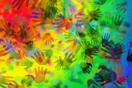 hands of different colors drawn on a rainbow background photo