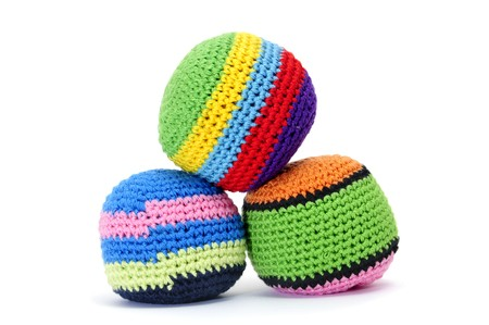 beanbag: set of juggling balls isolated on a white background