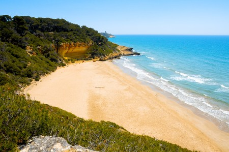 A view of Cala Fonda beach, in Tarragona, Spain