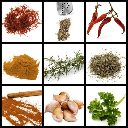 condiments: a collage of nine pictures of different spices and condiments Stock Photo