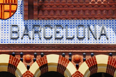 a barcelona sign writen in mosaic alphabet Stock Photo - 7242395