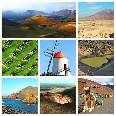 lanzarote: a collage of eight pictures of different views of Lanzarote, Spain