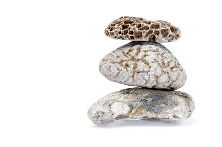 a pile of zen stones on a white background Stock Photo - 7295730