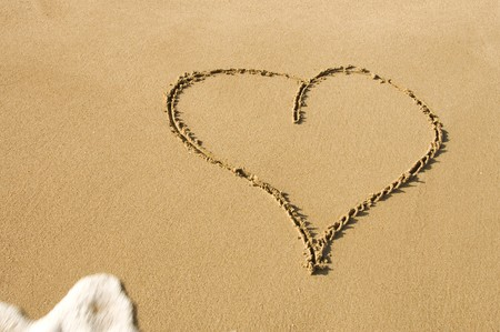 a heart drawn on the sand of the beach Stock Photo - 7295711