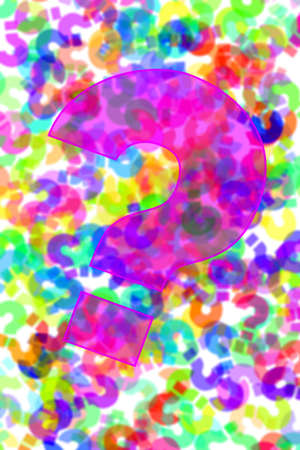 question marks of different colors drawn on a white background Stock Photo - 7295723