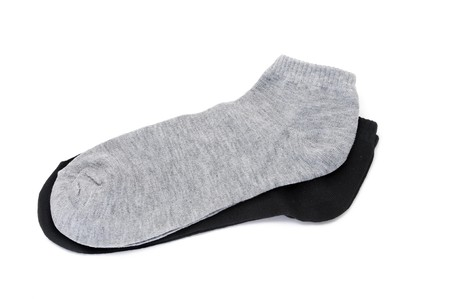 two pairs of ankle socks isolated on a white background photo